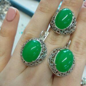 Гарнитур с Зеленым Агатом фото