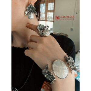 Гарнитур Орхидея (браслет + кольцо + серьги) фото